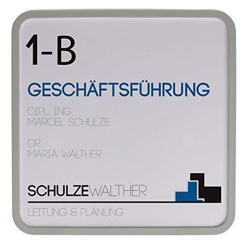 MAXI Türschild hellgrau   150x150mm   inkl. entspiegelter Abdeckung   Türschild Büro   Büroschild