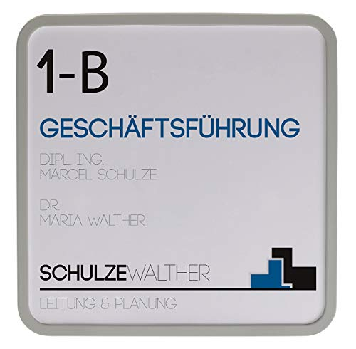 MAXI Türschild hellgrau | 150x150mm | inkl. entspiegelter Abdeckung | Türschild Büro | Büroschild