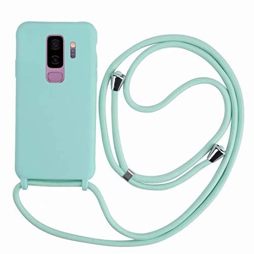 2ndSpring Funda con Cuerda Compatible con Samsung Galaxy S9 Plus,Colgante Collar Correa de Cuello Cadena Cordón,Silicona Suave Menta Verde