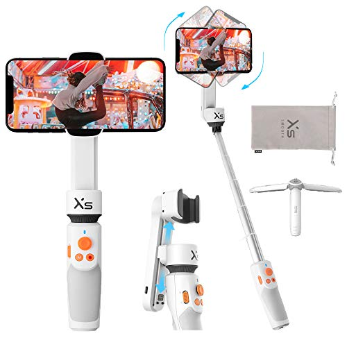 Zhiyun Smooth XS Gimbal Stabilizer for Smartphone, Handheld Selfie Stick Gimbal Tripod for iPhone Android with 26cm Extensional Stick, Slide Design, w/Case, Vlog YouTube Live Video Record, White