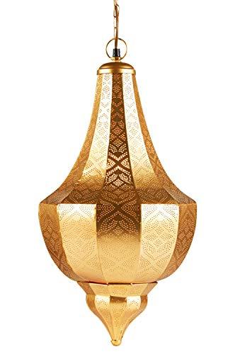 Lámpara Oriental Marroquí - lamparilla colgante - farola de techo Kanita dorado 50cm - muy práctica para una iluminación excelente - transmite una decoración excelente refinada