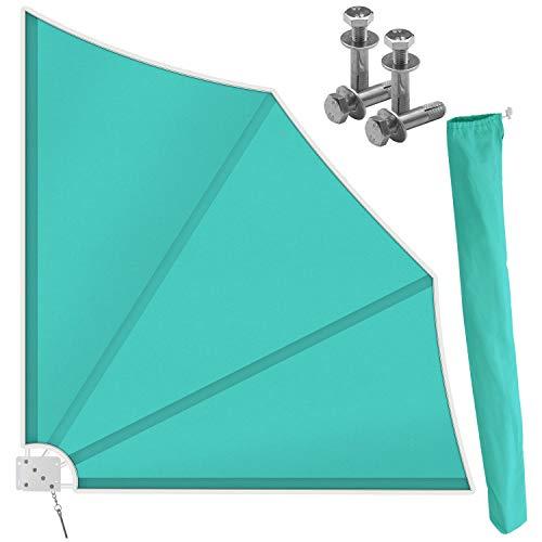 Kesser® Balkonfächer klappbar mit Wandhalterung | 140x140cm | Sichtschutz Balkon Windschutz | Balkonsichtschutz | Seitenmarkise | witterungsbeständig | inkl. Montagematerial | Türkis