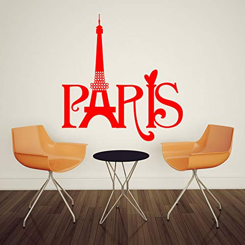 YuanMinglu Art Design Paris Handtuch Home Decor Wandaufkleber Abnehmbare Home Red 58cmX60cm