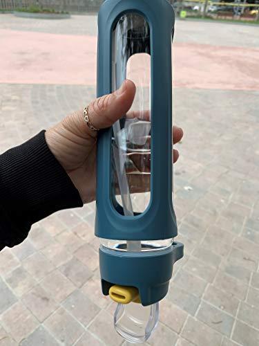 Diller Botellas de Agua Vidrio borosilicato el Olor de la Botella es Neutral, no coge olores, sin Bpa cantimplora ecológica. Hermética Cierra 100% Seguro a Prueba de Fugas, de 600ml (Azul)
