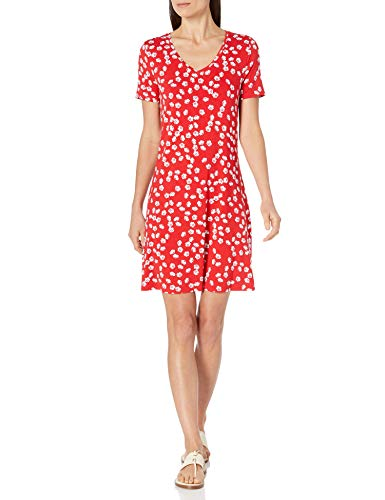 Amazon Essentials Short-Sleeve V-Neck Swing Dress, Amapola roja, XXL