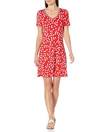 Amazon Essentials Women's Short-Sleeve V-Neck Swing Dress, Red Tossed Poppy, Medium