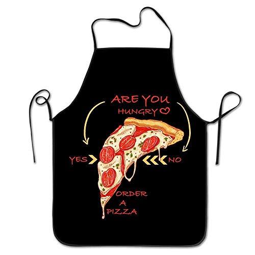 N\A Delantal con Peto para Mujeres Hombres Adultos Impermeable Natural ¿Tienes Hambre Pide una Pizza Sí No Cute Fricstar