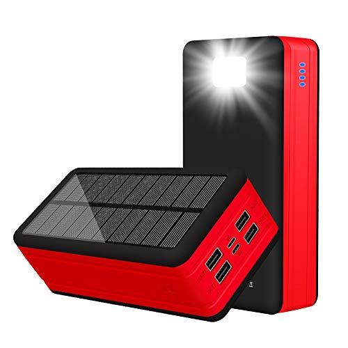 Solar Power Bank, Enorme Capacidad Externo 50000mah batería, con Salidas USB y 4 Linterna LED, Impermeable, Resistente a los Golpes y al Polvo, para Exteriores, Smartphone, Tablet,Rojo