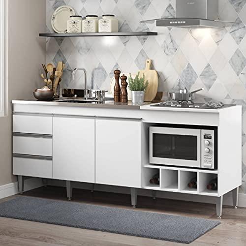 Balcão para Pia de Cozinha Completo 182 Cm Adega Cooktop 02 Portas 3 Gv MDP Branco 2035 - MENU