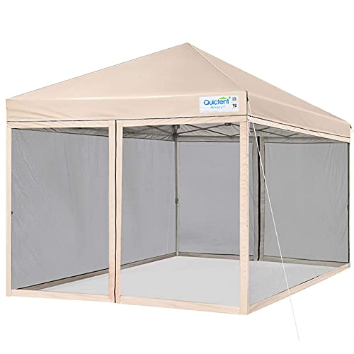 Quictent Ez Pop up Canopy with Mosquito Netting Screen House Tent Instant Gazebo, Roller Bag & 4 Sand Bags Included (Tan, 8 Feet x 8 Feet)