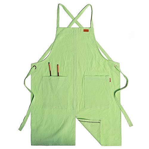 Delantal De Lino Delantal Cocina Barbacoa Con Bolsillos Y Diseño De Pierna Derramada - Delantal Cómodo Para Mujer Y Hombre,Verde