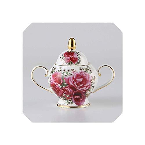 XYSQWZ Vintage Bone China Candy Sugar Bowl Pastoral Crema De Porcelana Europa Sugar Pot Jar Vajilla De Cocina Juego De Té Y Café Sello