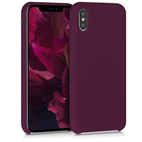 kwmobile Hülle kompatibel mit Apple iPhone X - Handyhülle gummiert - Handy Case in Bordeaux Violett