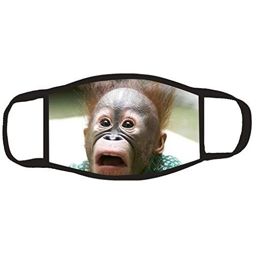 Mundschutz mit Motiv Gorilla Leopard Tiger Affe Eule Tiermotiv Ugly 3D Lustig Mund und Nasenschutz Waschbar Damen Herren Animal Halloween Atmungsaktive Multifunktionstuch Bandana Halstuch (12618)