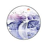 40 * 40 tenture murale, peinture ronde peinture à l'encre Zen paysage Feng Shui salon salle à manger porche ronde chambre...