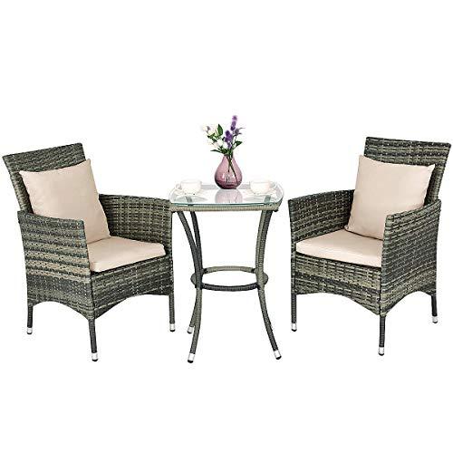 COSTWAY Conjunto Muebles de Ratán para Jardín Terraza Patio Balcón 2 Sillas y 1 Mesa con Cojines para Exterior y Interior