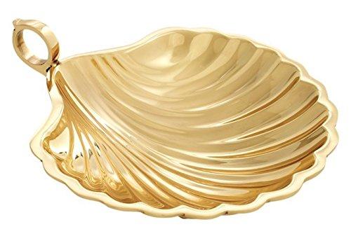 Casa Padrino Designer Schale groß Muschel Goldfarben Messing poliert 22.5 x 19.5 cm Massiv Schwer Dekoration