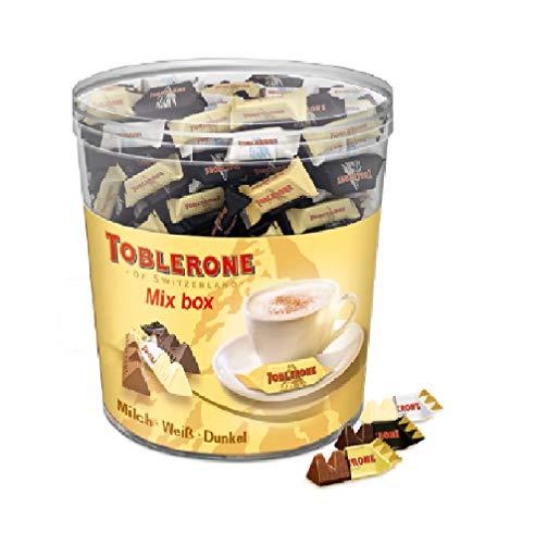 Toblerone Mixed Minis 1 x 904g Dose, Feine Schweizer Schokolade in drei Sorten mit Honig- und Mandelnougat