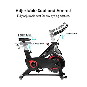 Reehut Exercise Bikes Stationary for Home, Spin Bike with Screen Cycling Bike Magnetic Resistance For Indoor with 31 lbs Flywheel, Big Seat, LCD Display and Phone Holder