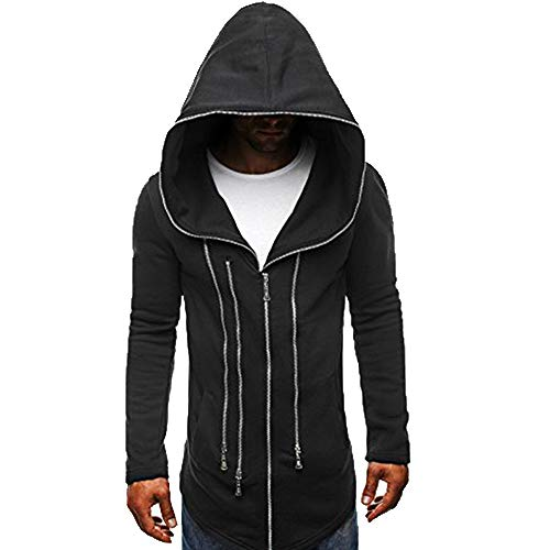 KPILP Mens Herbst Winter Mode Dunkler Umhang Zipper Hoodie Langarm Assassin's Creed Zur Seite Fahren Dick Warm Sweatshirt-Mantel(Schwarz, XL)