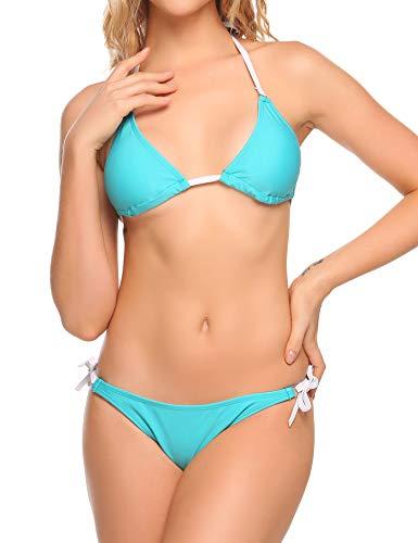 Ekouaer Women's Hit Color Bikini Set Tie Side Bottom Padded Top Swimsuit