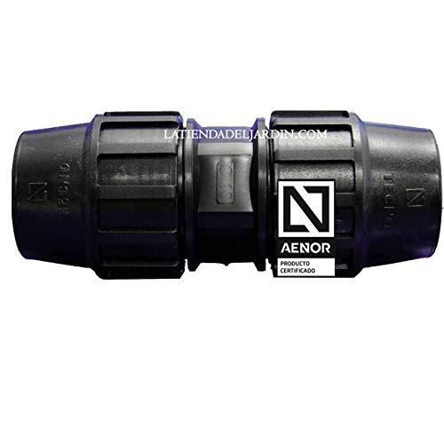 Suinga MANGUITO ENLACE POLIETILENO 40MM. Producto con certificado AENOR utilizado en tuberías PE 40 mm para uso fontanería, riego y obras.