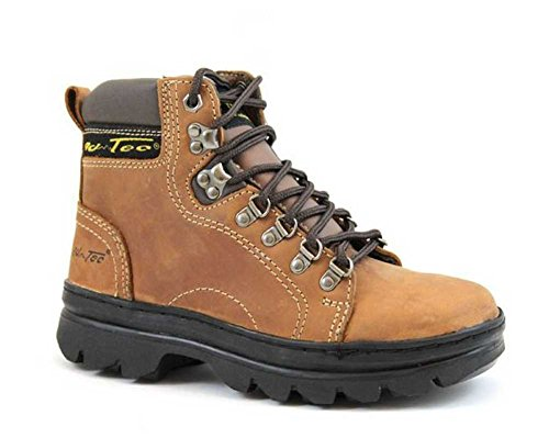 """AdTec Womens 6"""" Crazy Horse Leather Hiking/Work Boots Soft Toe Brown 2987 (8.5)"""
