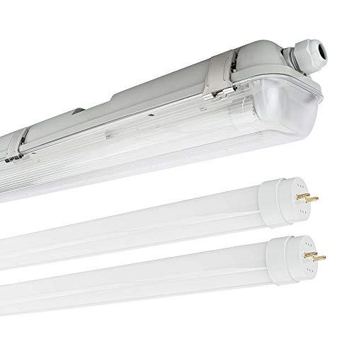 LED Feuchtraumleuchte Wannenleuchte T8 Röhre 840 Neutralweiß 4000K IP65 (120cm 2 x Röhre)