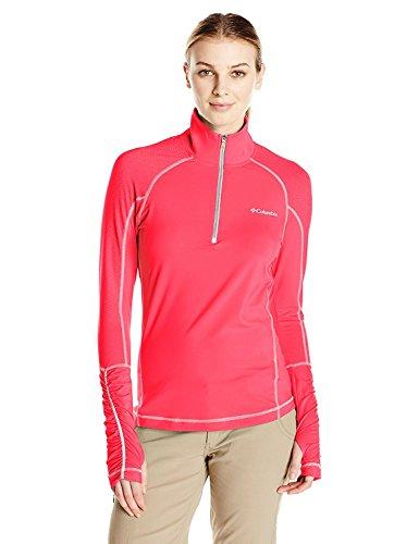 Columbia Women's Trail Flash Half Zip Shirt, Punch Pink/Tradewinds Grey, X-Small