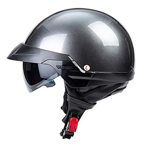 Medio Casco Motocicleta con Gafas Sol Ocultas CertificacióN Dot/ECE Casco Harley Ciclomotor Cruiser Chopper Scooter Casco Jet Casco Unisex para Exteriores ExtraíBle Lavable M-XL