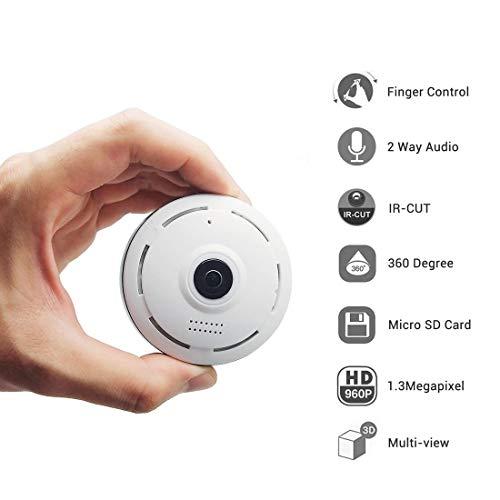 cámaras de Seguridad Cámara de videovigilancia inalámbrica Mini WiFi Cámara IP 960P Cámara de 360 Grados IP Fisheye Panorámica WiFi PTZ Cámara IP