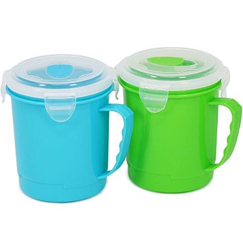 COM-FOUR® 2x soepbekers, soup to go, soepbeker met handvat en deksel voor onderweg, 600ml, in blauw en groen (02 stuks - blauw/groen V2)
