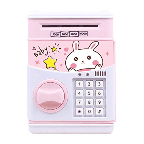 Electronic Piggy Bank for Kids Cash Coin Cartoon ATM Money Saver Coin Bank for Kids with Password & Music Great Gift Toy for Kids Children (Pink)