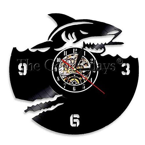 Orologio in Vinile 30cm Scary Shark Vinyl Record Clock Jaws Clock Atmosphere Orologio da Parete per Amante degli Animali dell'Oceano Wall Art Gift