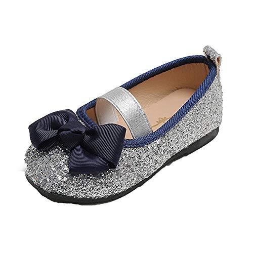 Niñas Mary Jane Ballet Flats Glitter Lentejuelas Low Top Round Toe Princesa Zapatos Niños Suela Suave Cuero Bowknot Zapatos de Vestir