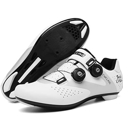 ASORT Calzado de Ciclismo para Hombre Calzado de Bicicleta de Carretera y Montaña para Mujer Calzado de Bicicleta para Interior y Exterior,WhiteB-46EU