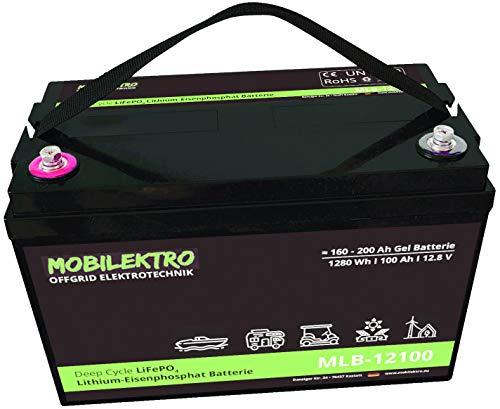 MOBILEKTRO® LiFePO4 100Ah 12V 1280Wh Lithium Versorgungsbatterie mit BMS - EQ 160Ah - 200Ah AGM oder GEL Aufbaubatterie für Wohnmobil, Boot, Camping oder Solaranlage