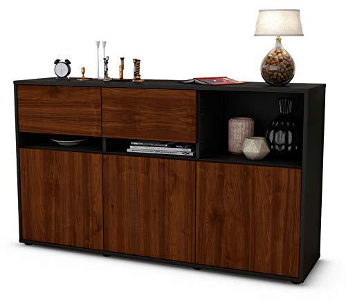 Stil.Zeit Sideboard Dorotea/Korpus anthrazit matt/Front Holz-Design Walnuss (136x79x35cm) Push-to-Open Technik und hochwertigen Leichtlaufschienen