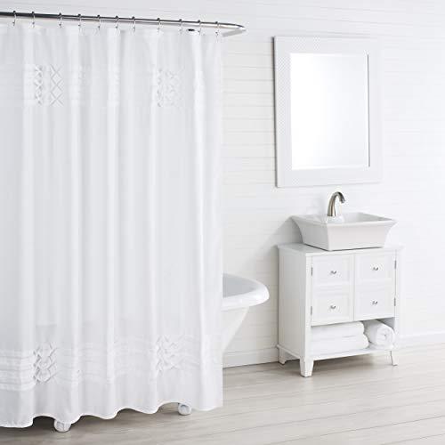 "City Scene Triple Diamond Shower Curtain, 72"" x 72"", White"