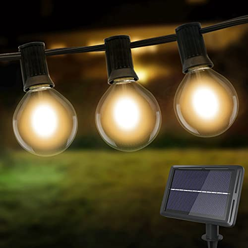 Litogo Catena Luminosa Esterno Solare, 8M/26ft 4 Modalità Luci da Esterno 25+2 G40 LED Lampadine Solare Luces Impermeabile Catene Luminose per Giardino, Portico, Albero, Matrimonio, Festa, Pergole