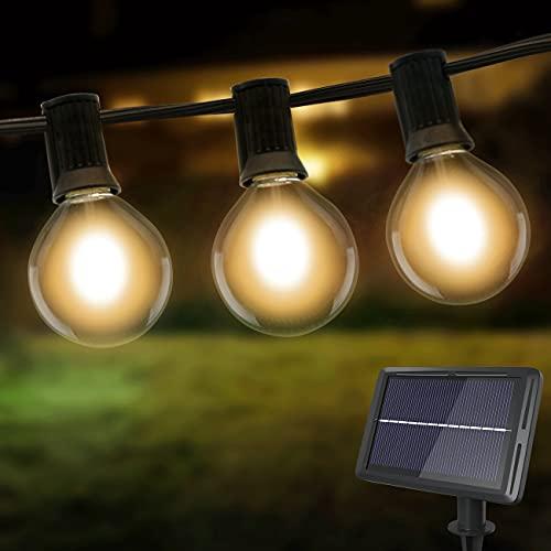 Litogo Guirnaldas Luces Exterior Solar, 8m G40 25+2 LED Cadena de Luces Exterior 4 Modes Luces Exterior Bombillas Exterior, Impermeable guirnalda bombillas Decorativas Ideal para Jardín, Terraza,Patio