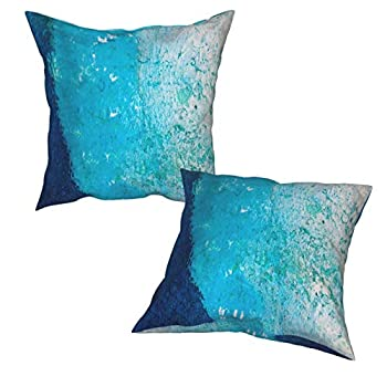 Ocean Theme Pillow Cases Blue Cobalt Throw Pillow Covers Zippered Pillowcases 18X18 Inch 2 Pack Decorative Pillow Cases Square Pillow Cases Camping Pillow Watercolor Pillow Case Covers for Home