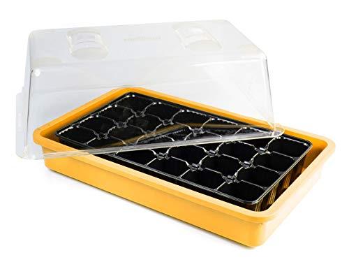 mgc24 Zimmergewächshaus Greenhouse - Anzuchtschale mit Deckel, Belüftung und Pflanzeinsatz für 24 Pflanzen - Orange