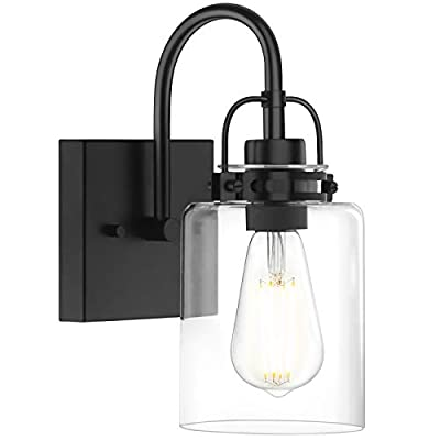 1 Light Wall Sconce Lighting, Matte Black Bathroom Vanity Light Fixtures with Clear Glass Shade and Metal Base, Industrial Indoor Hallway Wall Mount Lamp
