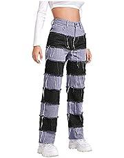 Vectry Damen Jeans brett ben jeansbyxor färgblock lapptäcke denim byxor stretchiga säckiga lösa streetwear bårbyxor retro stil långa byxor brett ben flare byxor relaxed denim byxor