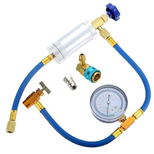 Huante Klimaanlage A/C Öl-Injektor Werkzeug R134A niedrige Seite schnell mit Manometer Kühlmittel Inflation Schlauch R12 R134A