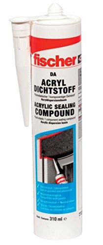 fischer Acryldichtstoff DA, geruchsarme Dichtmasse, elastoplastisches Maleracryl für Fugen im Innenbereich, Fugenmasse für Ausbesserungen und Risse im Mauerwerk, 310 ml, weiß