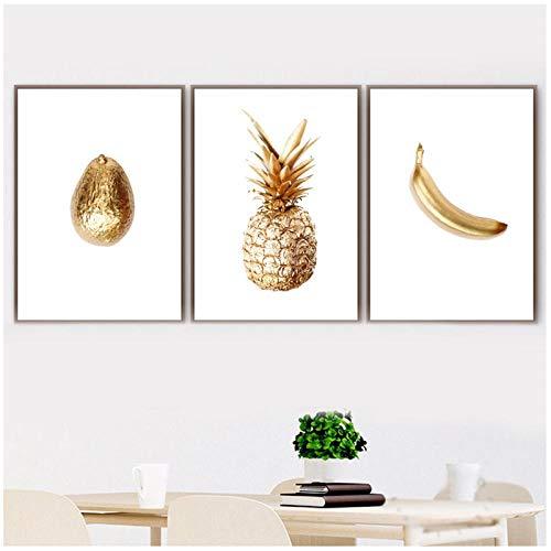 Cqzk Gold Ananas Banane Avocado Wandkunst Leinwand Malerei Nordic Poster Und Drucke Wandbilder Für Wohnzimmer Restaurant Decor 40x50 cm x 3-kein Rahmen