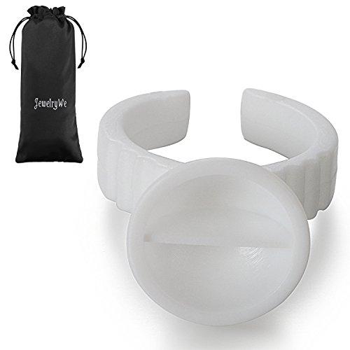 JewelryWe 100PCS Bague Colle Extensions de Faux-cils Anneaux Coupe d'encre 13mm avec Intervalle Pigment pour Tatouage Nail Art Blanc