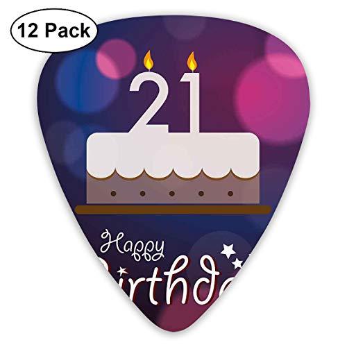 Gitaar Picks12pcs Plectrum (0.46mm-0.96mm), Happy Birthday Quote met sterren op abstract roze getinte afbeelding, voor uw gitaar of Ukulele